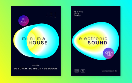 Music poster set. Electronic sound. Night dance lifestyle holiday. Fluid holographic gradient shape and line. Wavy disco event banner layout. Summer fest flyer and music poster.