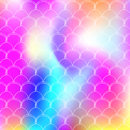 Gradient scale background with holographic mermaid. Bright color transitions. Fish tail banner and invitation. Underwater and sea pattern for girlie party. Rainbow backdrop with gradient scale. 矢量图片