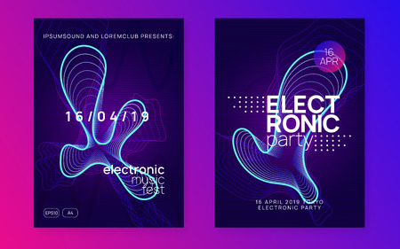 Electronic fest. Futuristic show brochure set. Dynamic gradient shape and line. Neon electronic fest flyer. Electro dance music. Trance sound. Club event poster. Techno dj party.