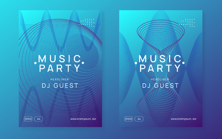 Music flyer. Energy discotheque invitation set. Dynamic gradient shape and line. Neon music flyer. Electro dance dj. Electronic sound fest. Techno trance party. Club event poster.