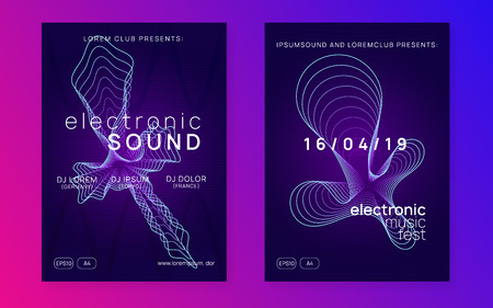 Electronic fest. Dynamic gradient shape and line. Trendy concert banner set. Neon electronic fest flyer. Electro dance music. Trance sound. Club event poster. Techno dj party.