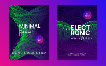 Dance flyer. Modern show invitation set. Dynamic gradient shape and line. Neon dance flyer. Electro trance music. Techno dj party. Electronic sound event. Club fest poster.