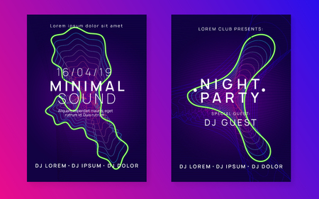 Electronic event. Bright concert magazine set. Dynamic gradient shape and line. Neon electronic event. Electro dance dj. Trance sound. Club fest poster. Techno music party flyer.