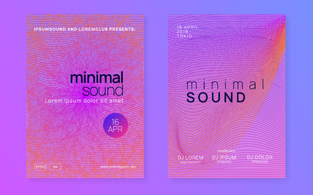 Dj flyer. Futuristic concert cover set. Dynamic gradient shape and line. Neon dj flyer. Electro dance music. Electronic sound event. Club fest poster. Techno trance party. Stock Illustratie