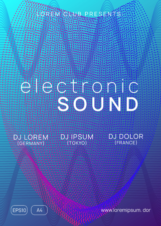 Dj flyer. Dynamic gradient shape and line. Cool concert invitation template. Neon dj flyer. Electro dance music. Electronic sound event. Club fest poster. Techno trance party. Ilustrace