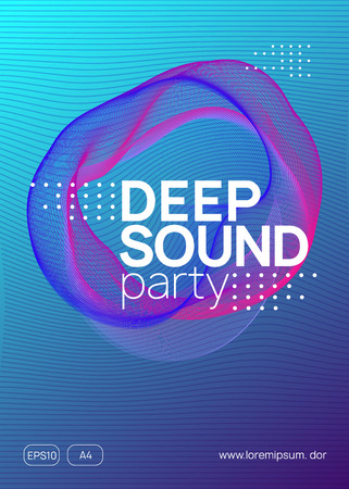 Dance flyer. Wavy show cover design. Dynamic gradient shape and line. Neon dance flyer. Electro trance music. Techno dj party. Electronic sound event. Club fest poster. Stock Illustratie