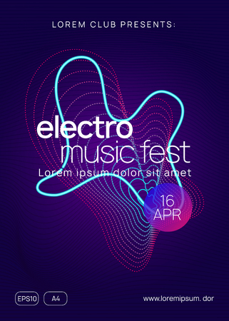 Music fest. Dynamic gradient shape and line. Wavy discotheque banner concept. Music fest neon flyer. Electro dance. Electronic trance sound. Techno dj party. Club event poster. Stock Illustratie