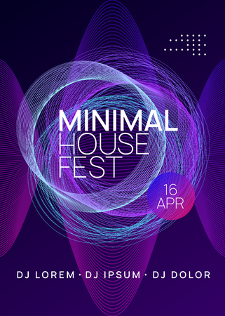 Dance flyer. Dynamic gradient shape and line. Wavy discotheque cover concept. Neon dance flyer. Electro trance music. Techno dj party. Electronic sound event. Club fest poster.