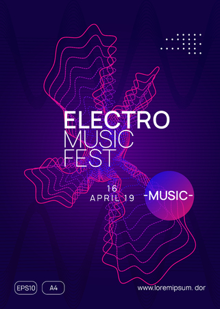 Techno event. Creative concert banner design. Dynamic gradient shape and line. Neon techno event flyer. Electro dance music. Electronic sound. Trance fest poster. Club dj party. Stockfoto - 124773056