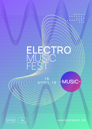 Electronic party. Wavy concert magazine template. Dynamic gradient shape and line. Neon electronic party flyer. Electro dance music. Techno fest event. Trance sound. Club dj poster. Stockfoto - 124773057