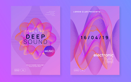 Sound flyer. Dynamic gradient shape and line. Modern concert brochure set. Neon sound flyer. Electro dance music. Electronic fest event. Club dj poster. Techno trance party.