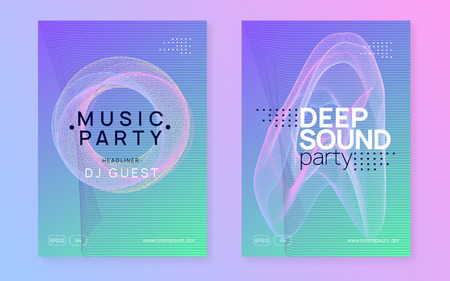 Music poster. Dynamic gradient shape and line. Curvy discotheque invitation set. Neon music poster. Electro dance dj. Electronic sound fest. Club event flyer. Techno trance party. Stock Illustratie