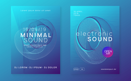 Dance flyer. Dynamic gradient shape and line. Cool concert cover set. Neon dance flyer. Electro trance music. Techno dj party. Electronic sound event. Club fest poster.