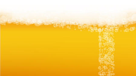 Craft beer background. Lager splash. Oktoberfest foam. Fresh pint of ale with realistic white bubbles. Cool liquid drink for pab banner design. Golden bottle with craft beer background.