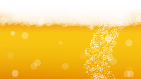 Splash beer. Background for craft lager. Oktoberfest foam. Cold pint of ale with realistic white bubbles. Cool liquid drink for bar flyer layout. Orange bottle with splash beer.
