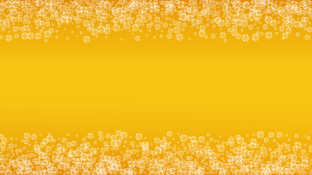 Beer background. Craft lager splash. Oktoberfest foam. restaurant banner design. Cold pint of ale with realistic white bubbles. Cool liquid drink for Gold bottle with beer background. Çizim