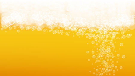 Lager beer. Background with craft splash. Oktoberfest foam. Cold pint of ale with realistic white bubbles. Cool liquid drink for restaurant banner concept. Golden bottle with lager beer. 向量圖像