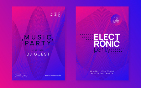 Techno event. Dynamic gradient shape and line. Geometric show banner set. Neon techno event flyer. Electro dance music. Electronic sound. Trance fest poster. Club dj party.