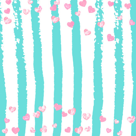 Pink glitter hearts confetti  on turquoise stripes. Shiny falling sequins with shimmer and sparkles. Design with pink glitter hearts for party invitation, banner, greeting card, bridal shower.