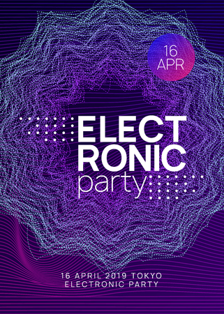 Techno event. Modern concert magazine design. Dynamic gradient shape and line. Neon techno event flyer. Electro dance music. Electronic sound. Trance fest poster. Club dj party. Stock Illustratie
