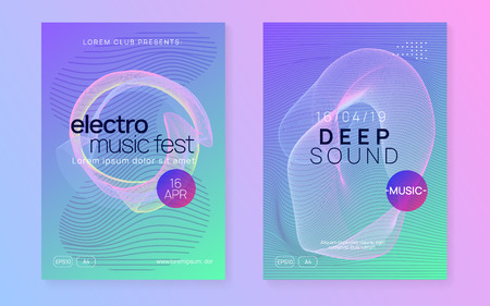 Neon flyer. Dynamic gradient shape and line. Cool discotheque magazine set. Neon flyer trance event. Techno dj party. Electro dance music. Electronic sound. Club fest poster. Stockfoto - 124773072