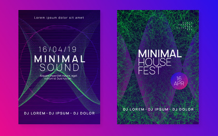 Electro event. Dynamic gradient shape and line. Abstract show cover set. Electro event neon flyer. Trance dance music. Electronic sound. Club fest poster. Techno dj party.