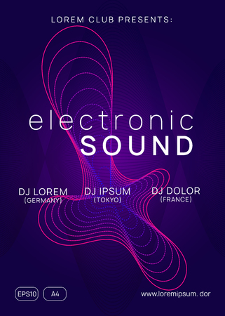 Music flyer. Abstract concert brochure design. Dynamic gradient shape and line. Neon music flyer. Electro dance dj. Electronic sound fest. Techno trance party. Club event poster.