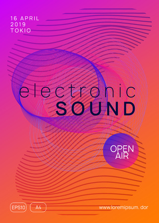 Music poster. Cool discotheque brochure template. Dynamic gradient shape and line. Neon music poster. Electro dance dj. Electronic sound fest. Club event flyer. Techno trance party. Stockfoto