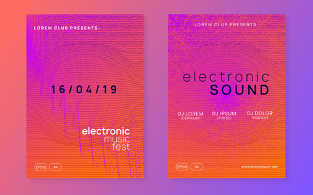 Trance party. Minimal concert invitation set. Dynamic gradient shape and line. Neon trance party flyer. Electro dance music. Electronic sound. Club dj poster. Techno fest event.