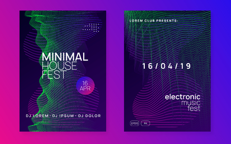 Electro event. Dynamic gradient shape and line. Futuristic discotheque cover set. Electro event neon flyer. Trance dance music. Electronic sound. Club fest poster. Techno dj party. Stock Illustratie