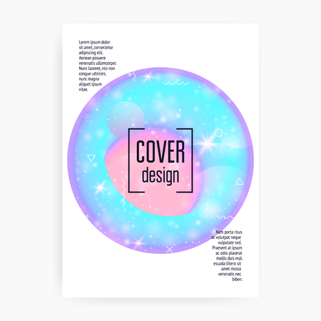 Princess cover. Kawaii rainbow hologram. Holographic unicorn gradient. Multicolor universe banner. Fantasy cover. Princess cover with magic sparkles, stars and blurs for girl party invitation. Stockfoto - 123119340