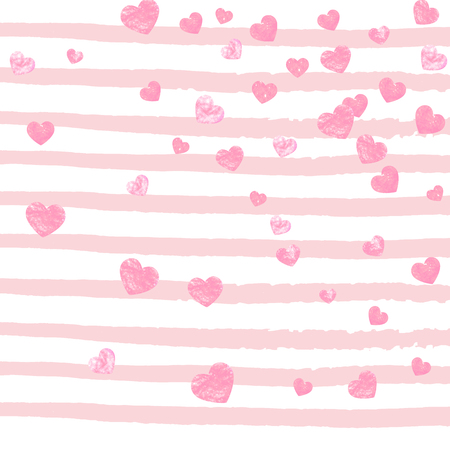 Pink glitter confetti with hearts on pink stripes. Shiny falling sequins with shimmer and sparkles. Template with pink glitter confetti for party invitation, banner, greeting card, bridal shower. Foto de archivo - 123119352