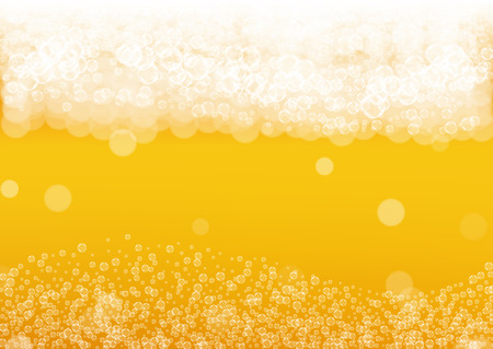 Craft beer background. Lager splash. Oktoberfest foam. restaurant menu concept. Bubbly pint of ale with realistic white bubbles. Cool liquid drink for Orange glass with craft beer background.