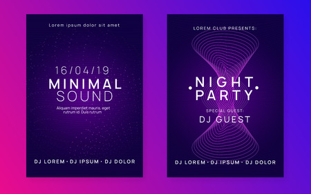 Electronic fest. Dynamic gradient shape and line. Modern show invitation set. Neon electronic fest flyer. Electro dance music. Trance sound. Club event poster. Techno dj party.
