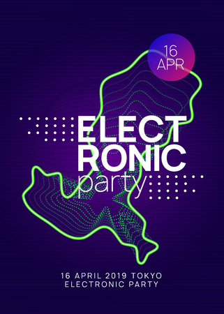 Electronic fest. Minimal discotheque cover design. Dynamic gradient shape and line. Neon electronic fest flyer. Electro dance music. Trance sound. Club event poster. Techno dj party.