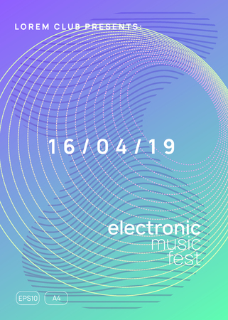 Electronic party. Dynamic gradient shape and line. Modern show invitation layout. Neon electronic party flyer. Electro dance music. Techno fest event. Trance sound. Club dj poster. Illustration