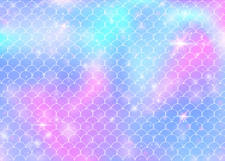 Princess mermaid background with kawaii rainbow scales pattern. Fish tail banner with magic sparkles and stars. Sea fantasy invitation for girlie party. Rainbow princess mermaid backdrop.