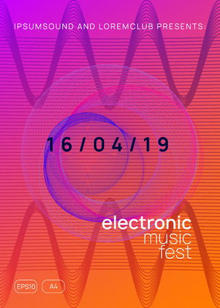 Music poster. Commercial concert magazine concept. Dynamic gradient shape and line. Neon music poster. Electro dance dj. Electronic sound fest. Club event flyer. Techno trance party.