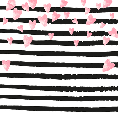 Wedding glitter confetti with hearts on black stripes. Random falling sequins with metallic shimmer. Design with pink wedding glitter for greeting card, bridal shower and save the date invite. Foto de archivo - 123068952