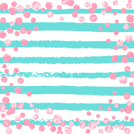 Pink glitter confetti with dots on turquoise stripes. Shiny random falling sequins with sparkles. Template with pink glitter confetti for party invitation, banner, greeting card, bridal shower. Foto de archivo - 123068972