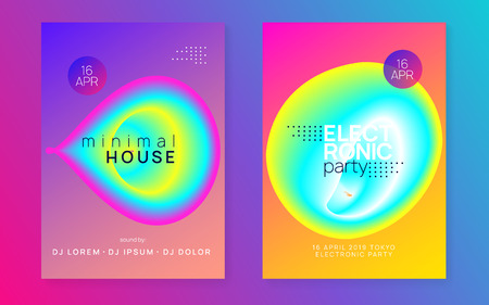 Summer music set. Electronic sound. Night dance lifestyle holiday. Fluid holographic gradient shape and line. Cool house show banner layout. Fest poster and flyer for summer music.  イラスト・ベクター素材