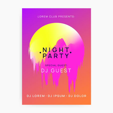 Music poster. Electronic sound. Night dance lifestyle holiday. Minimal techno party presentation design. Fluid holographic gradient shape and line. Summer fest flyer and music poster.