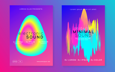 Music fest set. Fluid holographic gradient shape and line. Futuristic electro concert brochure layout. Electronic sound. Night dance lifestyle holiday. Summer poster and music fest flyer.