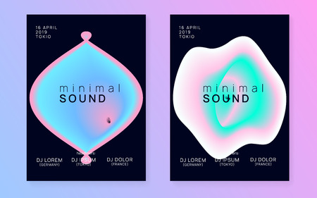 Music poster set. Electronic sound. Night dance lifestyle holiday. Fluid holographic gradient shape and line. Futuristic indie event cover template. Summer fest flyer and music poster.