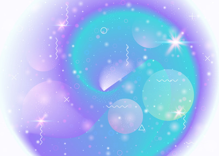 Universe background with galaxy and cosmos shapes and star dust. Fantastic space landscape with planets. 3d fluid with magic sparkles. Holographic futuristic gradients. Memphis universe background.