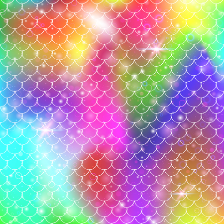 Princess mermaid background with kawaii rainbow scales pattern. Fish tail banner with magic sparkles and stars. Sea fantasy invitation for girlie party. Spectrum princess mermaid backdrop. Archivio Fotografico - 122930170