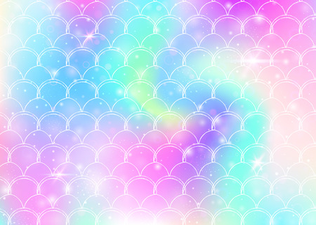 Rainbow scales background with kawaii mermaid princess pattern. Fish tail banner with magic sparkles and stars. Sea fantasy invitation for girlie party. Bright backdrop with rainbow scales. Ilustração