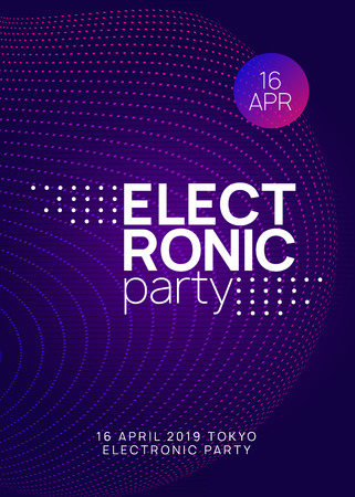 Electronic event. Dynamic gradient shape and line. Bright discotheque brochure template. Neon electronic event. Electro dance dj. Trance sound. Club fest poster. Techno music party flyer.