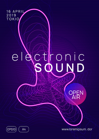 Electronic event. Dynamic gradient shape and line. Cool concert cover concept. Neon electronic event. Electro dance dj. Trance sound. Club fest poster. Techno music party flyer. Stock Illustratie