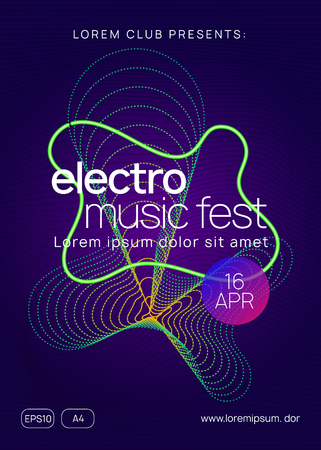 Electronic fest. Dynamic gradient shape and line. Abstract discotheque brochure concept. Neon electronic fest flyer. Electro dance music. Trance sound. Club event poster. Techno dj party.